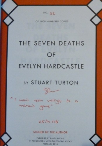 Image for The Seven Deaths of Evelyn Hardcastle (Limited Numbered, Signed and Dated first edition including a quote) Plus Bookmark