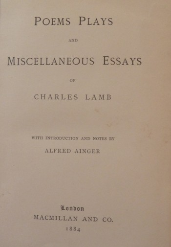 Image for Poems, Plays and Miscellaneous Essays of Charles Lamb