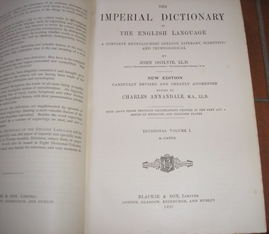 Image for The imperial dictionary of the English language: A complete encyclopaedic lexicon, literary, scientific, and technological(Eight volume set)