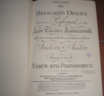 Image for The Beggar's Opera (Gay's The Beggar's Opera 1728) as it is Performed at the Lyric Theatre, Hammersmith, With new settings of the Airs and additional ... Austin. Arranged for the Voice and Pianoforte