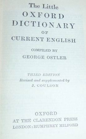 Image for The Little Oxford Dictionary of Current English (Third Edition)