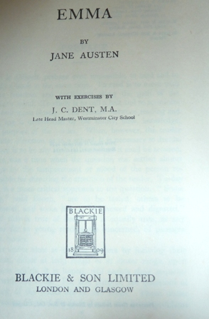 Image for Emma ... With exercises J. C. Dent (Minister English Texts)