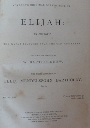 Image for Elijah: An Oratorio in Vocal Score, opus 70.