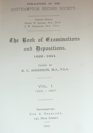 Image for Publications of The Southampton Record Society: The Book of Examinations and Depositions 1622-1627 (Volume I)