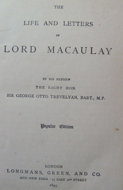 Image for The Life and Letters of Lord Macaulay